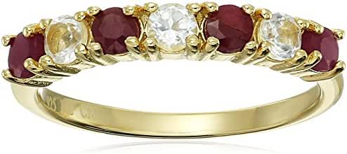 Sterling Silver Natural Ruby and White Topaz Ring with 14k Yellow Gold Overlay, Size 7