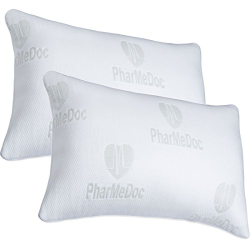 PharMeDoc Shredded Memory Foam Pillow - Overstuffed w/ Washable Case - Ultra Soft Pillow for Custom Relief with Back Stomach & Side Sleepers - Hypoallergenic Breathable Pillow for Neck Support