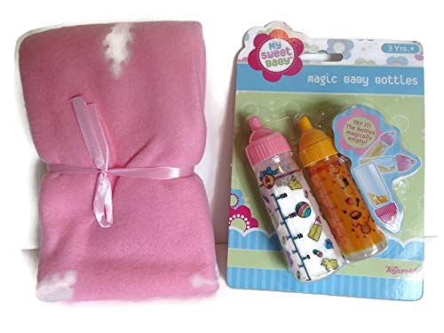 Toysmith Baby Doll Bottles Toy Disappearing Milk Juice Girl 3Yrs + - 2 Bottles in One Package PINK BLANKET (Blanket Designs Vary See Pics for Examples)