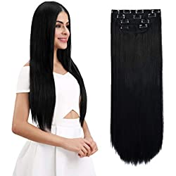 "REECHO 18"" Straight Long 4 PCS Set Thick Clip in on Hair Extensions Natural Black"