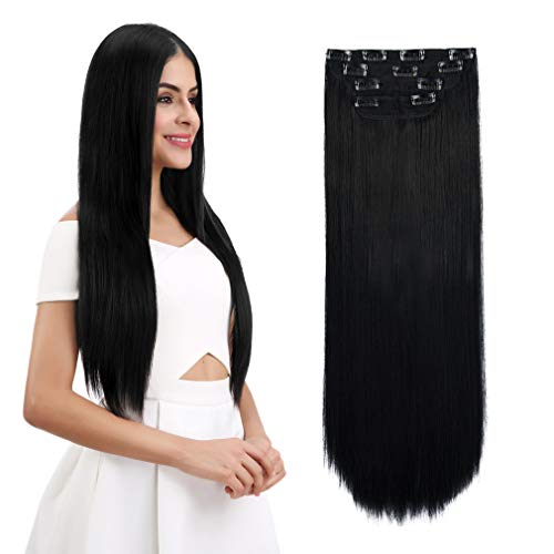 "REECHO 24"" Straight Long 4 PCS Set Thick Clip in on Hair Extensions Natural Black"