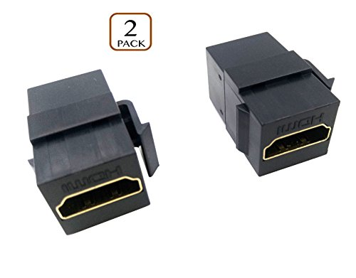 Poyiccot HDMI Coupler Keystone Jack, (2-Pack) Gold-Plated HDMI Female to Female Insert Wall Plate Connectors Adapter-Black