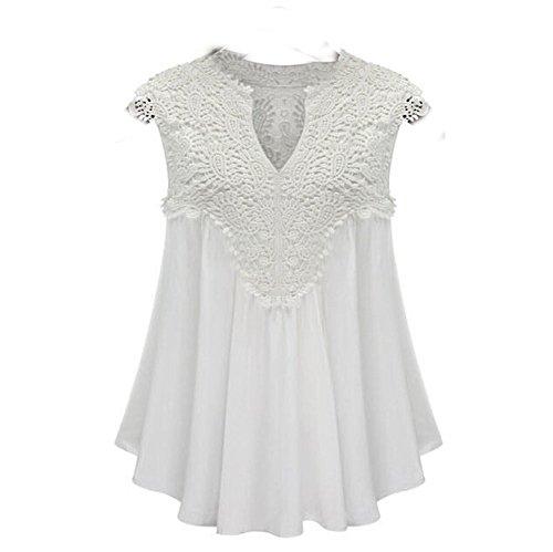 Forlisea 2016 Fashion New Style V Neck Sleeveless Lace Pleated Chiffon Top White, Large