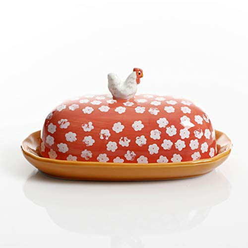 (Urban Market by Gibson 99859.02RM Life on the Farm figural, Rooster, Butter Dish with lid, Red)