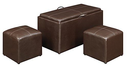 (Convenience Concepts 143012 Sheridan Faux Leather Storage Bench with 2 Side Ottomans, Dark Espresso)