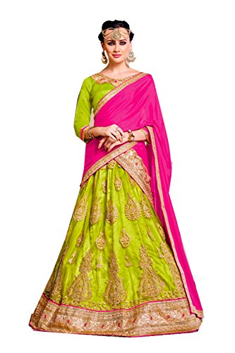 Da Facioun Womens Parrot Green Color Striking Lehenga Choli With Lace Work 80379 80379