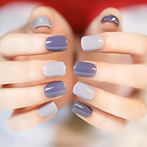 Amazon.com : 24pcs Deep and Light Gray Fake Nails Normal ...