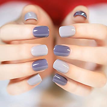 24 Pieces Deep And Light Gray Fake Nails Normal Length Square Head Full Cover Soft