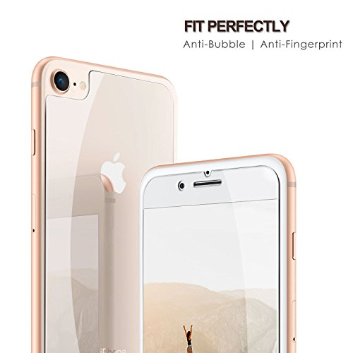 SHARKSBox iPhone 8 Screen Protector for Apple iPhone 8 HD Clear, 8 Front and Back Screen Protector Anti-Scratches Glass Screen Protector Film Compatible iPhone 8 (Front+Back)