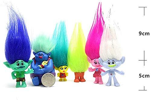 Qukueoy 6 Pack Poppy Trolls Figures with Hair for Girls Party Favors,Trolls Toys Branch and Poppy,Guy Diamond, Biggie, Smidge, Fuzzbert