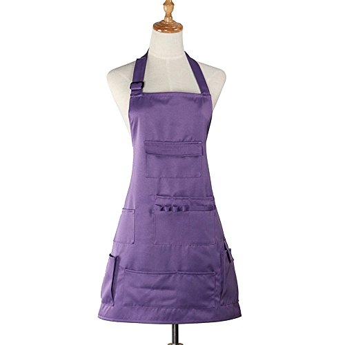 - boshiho Adult Painting Aprons Barber Apron with Pockets for Women/Men/Unisex, Utility or Work Apron (Purple)