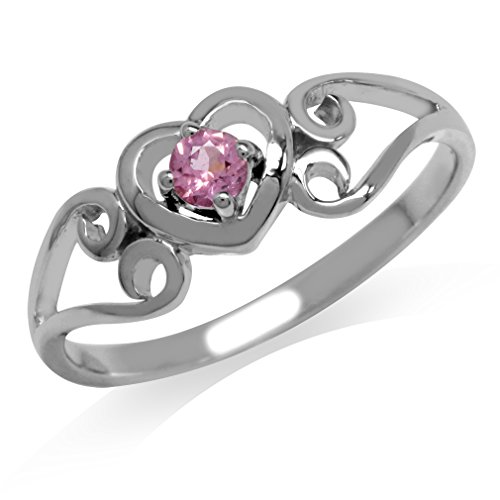 Silver Tourmaline Ring (Natural Pink Tourmaline White Gold Plated 925 Sterling Silver Filigree Heart Ring Size)