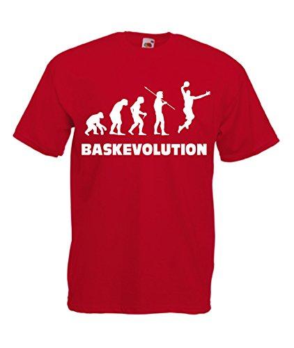 shirt Maglietta Uomo T Basket Cheideastore Pallacanestro Evolution Rosso R5AjL3qc4