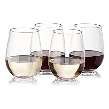 NOTMOG - NOT Made Of Glass Tritan Plastic Stemless Wine Glasses -Unbreakable Shatterproof Reusable Glass for Red or White Wine, 16 oz, Set of 4
