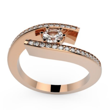 HABY P Bagues Or Rose 18 carats Saphir Blanc 0,6 Rond