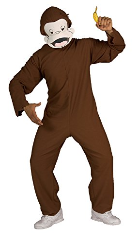 [UHC Men's Storybook Curious George Monkey Funny Theme Adult Halloween Costume, STD (Up to 44)] (Costumes Curious George)
