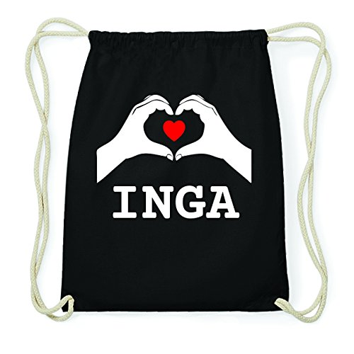 JOllify INGA Hipster Turnbeutel Tasche Rucksack aus Baumwolle - Farbe: schwarz Design: Hände Herz