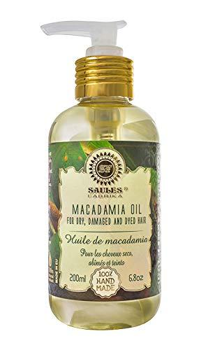 Saules Fabrika 100% Macadamia-Öl Massageöl, Haaröl, Körperöl, 100% Bio, Vegan, Naturkosmetik 200ml