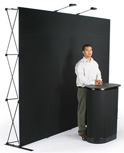 Displays2go Exhibit Display with Velcro Receptive Fabric Panels, 115-Inch, Black (TEPUV10KS) by Displays2go