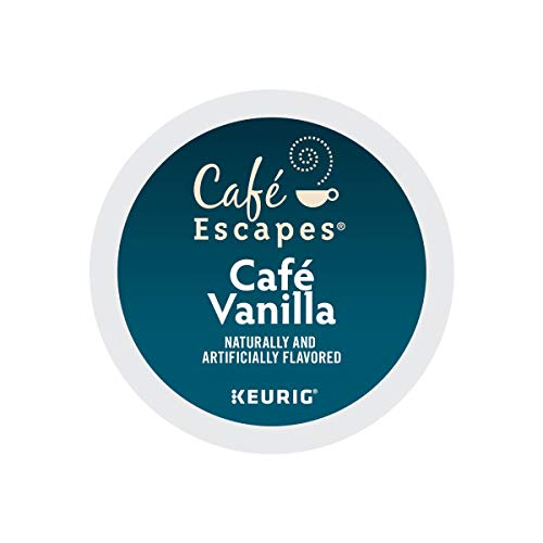 Cafe Escapes, Cafe Vanilla Coffee Beverage, Single-Serve Keurig K-Cup Pods, 96 Count (4 Boxes of 24 Pods) (Vanilla 96 Cups K Count)