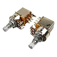Musiclily A500k Push Pull Split Knurled Short Shaft Metric15mm Audio Taper Guitar Volume Switch Control Pot Potentiometer for Guitar Bass Parts, Chrome (Pack of 2)