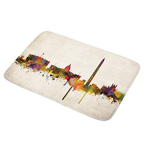 HUS-PLT Bath Mat NYC Cityscape Ink Splash Photograph with Colorful Buildings Architecture Flannel Absorbent Bathroom Decor Mat with Non Slip Backing Rug Kitchen Floor Mat Carpet 17.5