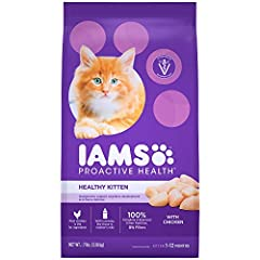 Help your kitten grow into a strong, playful, energetic, and healthy adult cat with IAMS PROACTIVE HEALTH Healthy Kitten Dry Cat Food with Chicken—a chicken-first recipe designed for a cat's first year of playful, fluffy, furry, feline firsts...