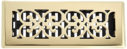 (Decor Grates SPH310 3-Inch by 10-Inch Scroll Floor Register, Polished Brass Finish)