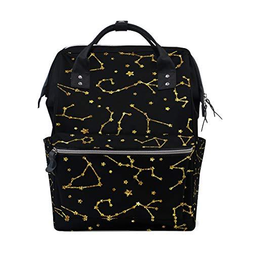 Sky Explorer Night (Star Glitter Night Sky Astronomy Diaper Bags Large Travel Nappy Nursing Backpack Mommy Bag)