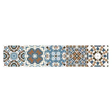 Dottiete Wall Stickers - Vintage Moroccan Style Tiles Stickers Pvc Waterproof Self Adhesive Wall Furniture Bathroom Diy - Nature City 10 Star Classroom Bathroom Teen Entry Small Under (Living Jordan's Furniture With Set Room Tv)