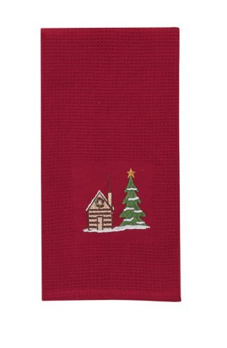 Embroidered-Dishtowel-with-Cabin-and-Christmas-Tree
