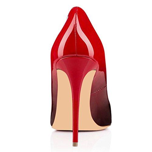 Coolcept Dames Stiletto Pumps Patent Basic Jurk Bruiloft Schoenen Ronde Neus Zwart & Rood
