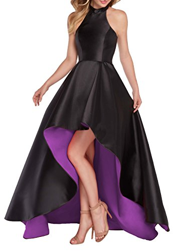 YORFORMALS Halter High Low Satin Long Plus Size Evening Prom Dress Asymmetrical Ball Gown Lace Up Back Size 28 Black/Purple