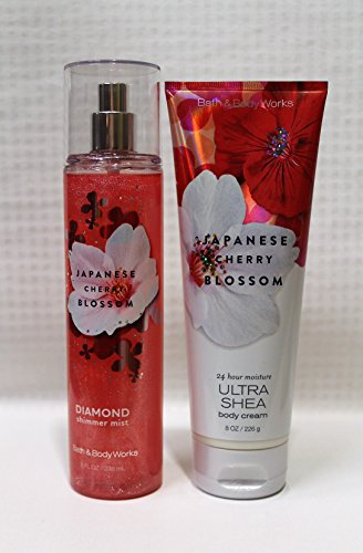 Bath & Body Works ~ Signature Collection ~ Japanese Cherry Blossom ~ Diamond Shimmer Mist 8 Oz. & Ultra Shea Body Cream 8 Oz.