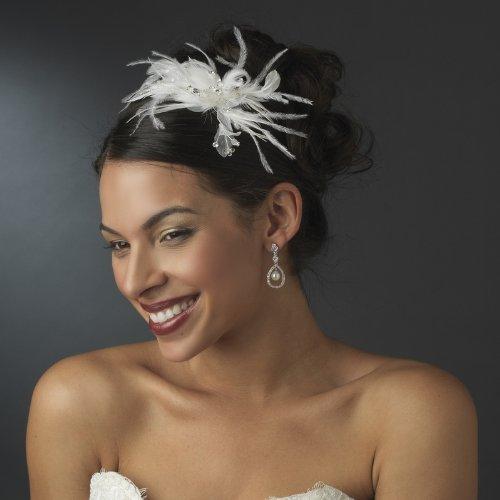 Irina White Swarovski Crystal Wedding Bridal Feather Fasc...