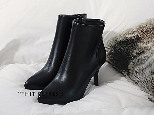 Aisun Damen Sexy Spitz Zehen High Heels Kurzschaft Chelsea Knöchelstiefel Mit Reißverschluss Schwarz 45 EU zB4kgxW