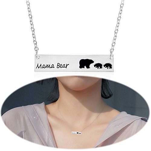 Mama Bear Bar Necklace Mother Cubs Pendant Dangle Simple Minimalist Choker Collarbone Chain Charm Jewelry Silver Plated 3 (The Shining Bear Suit)