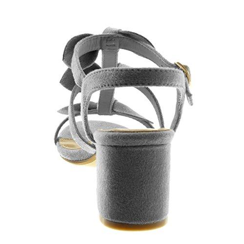 Tacón Tobillo cm Ancho 6 5 Moda Mujer Multi Nodo Zapatillas Correa Gris Sandalias Angkorly Correa de Alto TvFqH