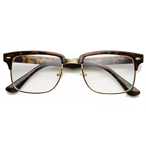 zeroUV - Modified Classic Square Half Frame Clear Lens Horn Rimmed Sunglasses (Tortoise-Gold) (Tortoise Half Plastic Frame)