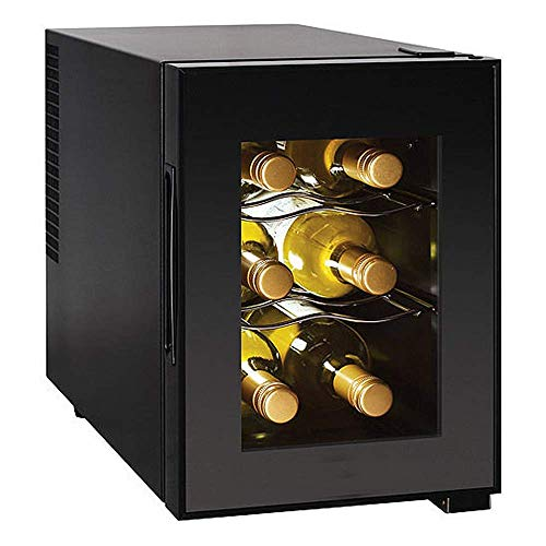 Selva Thermoelectric Cooling 6-Bottle Wine Cellar Cooler Refrigerator – Black | Dual Zone Beverage 2 Sculpt Chrome Shelves | Interior Light to Illuminate | Easy Use Digital Adjustable Control Display