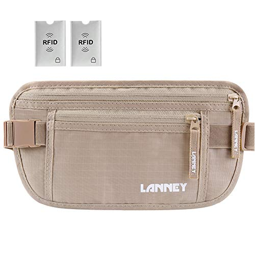 - Travel Money Belt for Men Women, RFID Blocking Waist Wallet Hidden Antitheft Passport Holder Concealed Under Clothes Stash Pouch, Bonus 2 Credit Card Sleeves, Beige