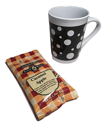 Coffee Gift Set; Black and White Polka Dot Ceramic Mug and Flavored Ground Coffee (Delicious Caramel Apple); (Treasures Ceramic Mug)