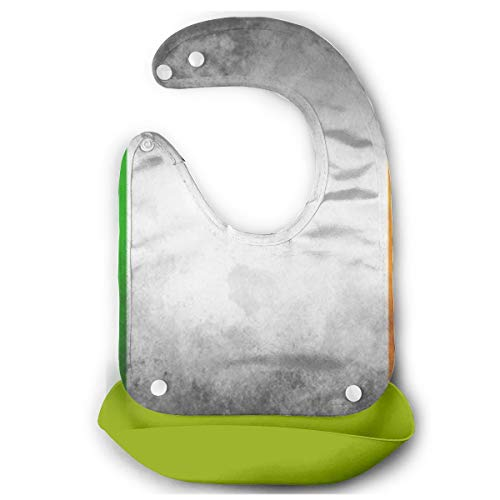 Nyghiasx Ireland Flag Silicone Bib Drooling Bibs Waterproof Baby Mouth Towel, Adjustable Snaps Bib Baby Bibs for Girls Boys 10-72 Months