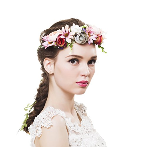 Newly arrived Rattan Flower Vine Crown Tiaras Necklace Belt Party Decoration (Pink-3)