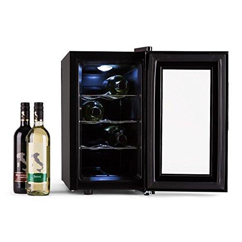 Klarstein Reserva Piccola Weinkühlschrank freistehend, Getränkekühlschrank mit Glastür, Minibar mit LED Beleuchtung und Touch-Bedienung (25 Liter /8 (0,75L) Flaschen Kühlschrank, 8- 18 °C, 155kWh/Jahr) schwarz