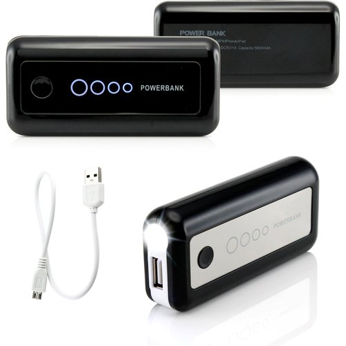 Gearonic 5600mAh Universal Power Bank Backup External Battery Pack Portable USB Charger, Black