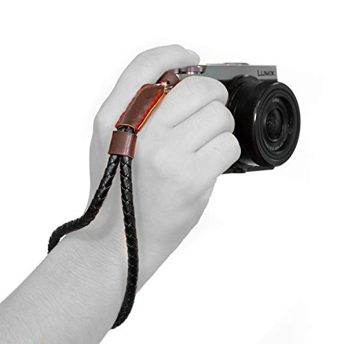 Fashion Camera Wristlet - Megagear MG933 Leather Woven Wrist Strap Comfort Padding, Enhanced Hand Grip Stability and Security for All Cameras (SLR/DSLR) One Size Fits All, Black