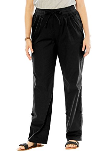 Women's Plus Size Pants With Convertible Length Black,20 W