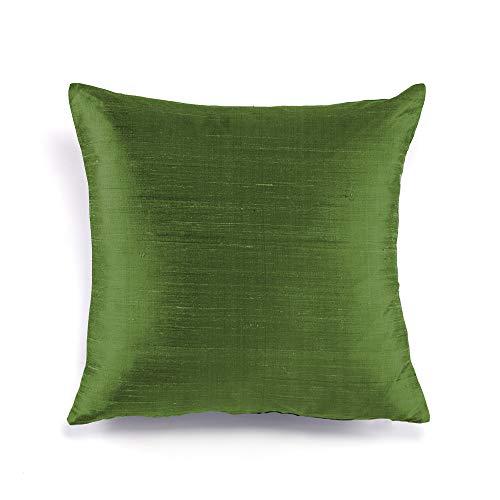 (FABRICART Silk Allure Collection : Dupioni raw Silk Cushion Covers | Pillow Shams | Lumbar Covers | Euro Shams | Elegant & Royal Sheen Texture | Well Made | Set of 2 (Green, 16 x 16 inches))