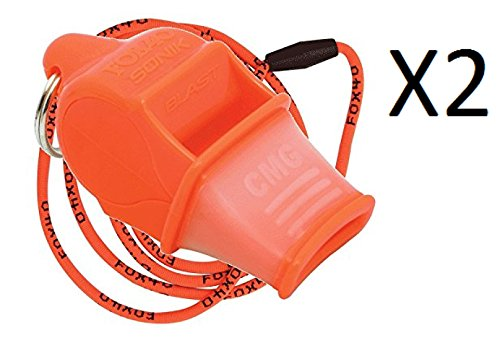Fox 40 Sonik Blast Cushion Mouth Group Sports and Safety Loud Whistle with Lanyard, Orange (2 Pack) by Fox 40